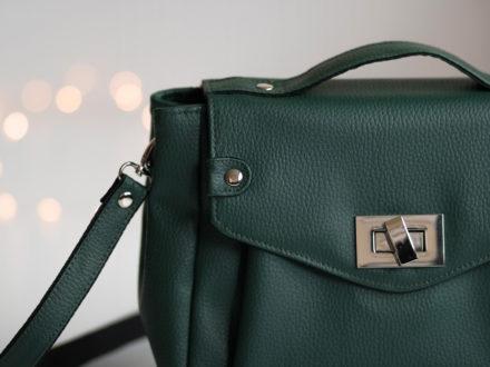 Zielona torebka Greta - zastosowanie nitów kaletniczych