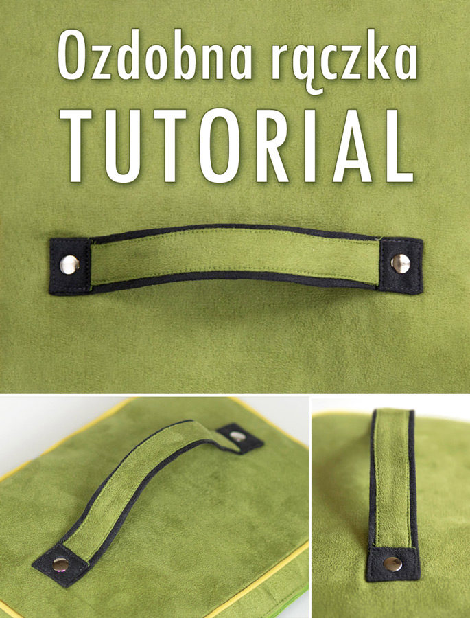 Jak uszyć ozdobny uchwyt do kosmetyczki lub dwukolorowe rączki do torebki - tutorial. Instrukcja szycia krok po kroku.