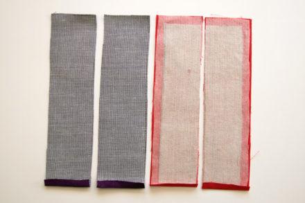 Przygotowane elementy panelu -szycie listwy z zamkiem