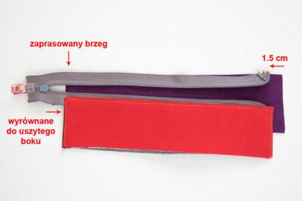 Wszywanie drugiej strony panelu - szycie listwy z zamkiem do torebki