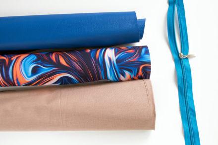 Materiały do szycia torby - ekoskóra, tkanina wodoodporna poliestrowa oraz bawełniana podszewka