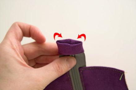 Ukrywanie końcówki zamka, szycie panelu z zamkiem do torebki